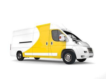 Big white and yellow delivery van - studio shot