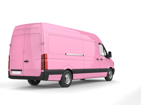 Candy pink modern delivery van - back view Stock Photo