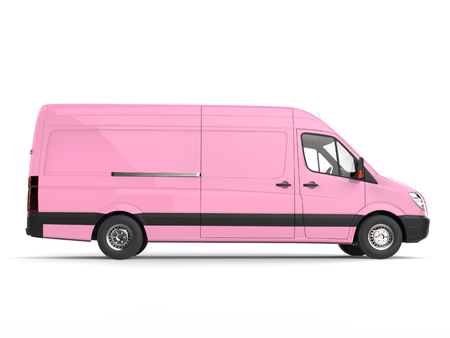 Candy pink modern delivery van - side view Stock Photo