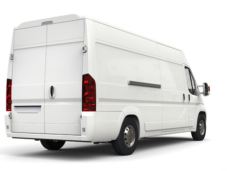 White delivery - moving van - back view Stock Photo
