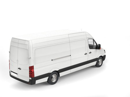 Clean white modern delivery van - top down view