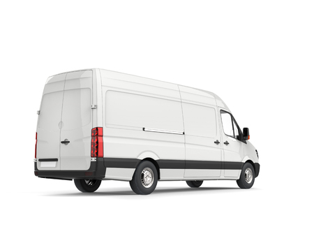 Clean white modern delivery van - rear view Stok Fotoğraf