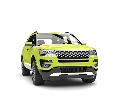 Crazy green modern SUV car - front view closeup shot Stock Photo
