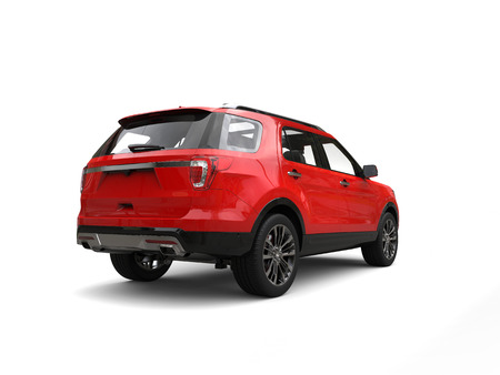 Modern big red SUV - rear view Stock Photo