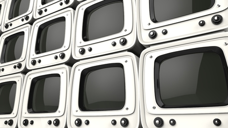 Wall of vintage style white TVs
