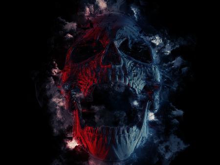 Donkere schedel - verbrijzeld
