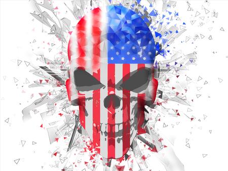 Lage veelhoekcel gearceerde Amerikaanse vlagschedel Stockfoto