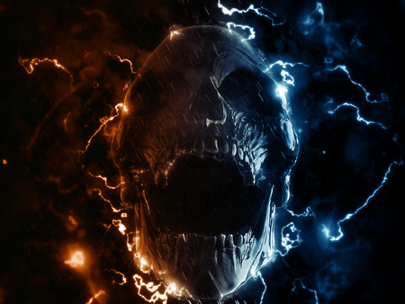 Screaming skull in lighting storm