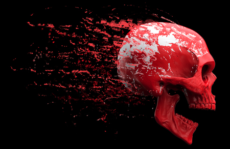 Screaming red skull shedding red skin