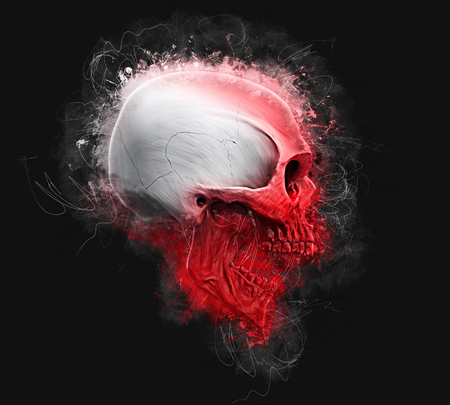 Red and white skull - neo thrash style Stock Photo