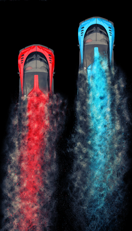 Red and blue sports supercars racing - particle FX