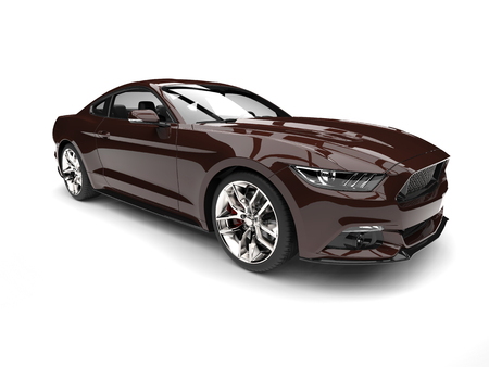 Chocolate brown modern sports muscle car Reklamní fotografie