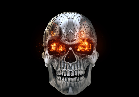 Angry metal demon skull with eyes burning bright Archivio Fotografico