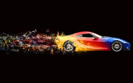 Elegant multicolor super sports car - neon polygon trails 写真素材 - 109090566