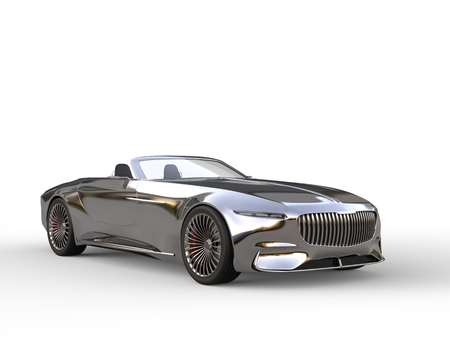 Shiny chrome modern cabriolet concept car
