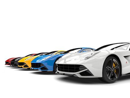 Modern sports concept cars in various colors