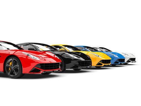 Sports concept cars in various colors