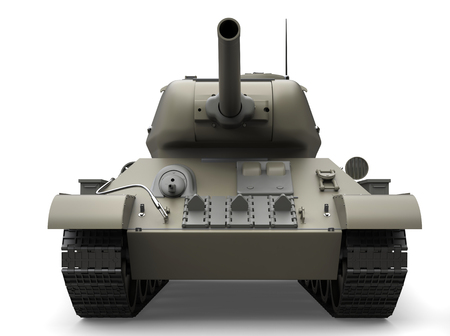 Old gray military heavy tank - front view closeup shot Stock Photo