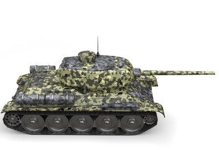 Forest camo old military tank - top down side view Stock Photo