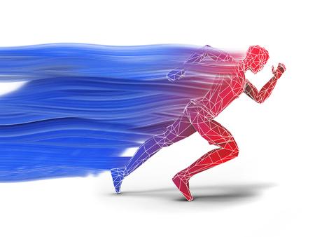 Low polygon running man - speed motion trail Reklamní fotografie