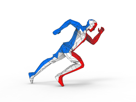 Low polygon running man - red, white and blue Stock Photo