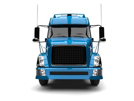 Blue modern semi trailer truck - front view