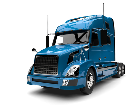 Blue modern semi trailer truck