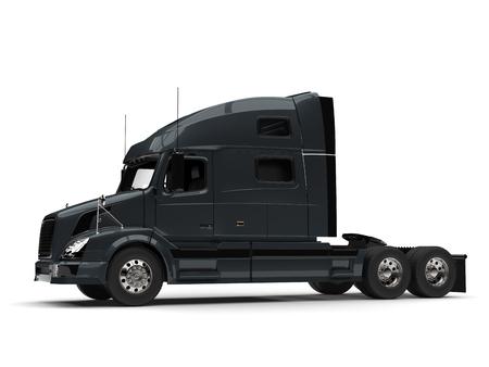 Dark slate gray modern semi trailer truck - side view Stock Photo