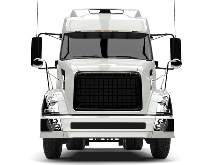 Basic white modern semi trailer truck - front view closeup shot