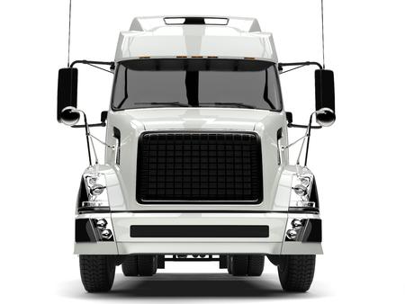 Basic white modern semi trailer truck - front view closeup shot