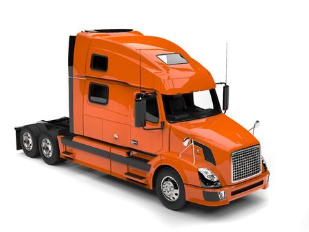 Warm orange modern semi trailer truck - top down view Stock Photo