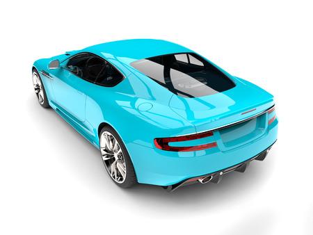 Baby blue modern luxury sports car - rear view 스톡 콘텐츠