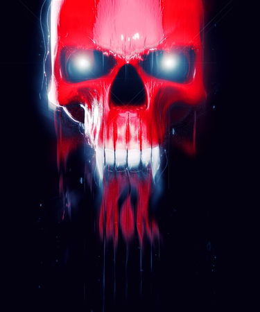 Red vampire demon skull melting into light