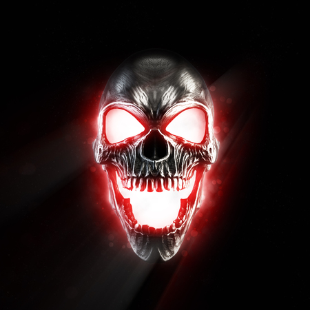 Screaming metal skull glowing red eyes and mouth
