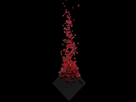 Abstract dark cube shattered into crimson red glass pieces 免版税图像