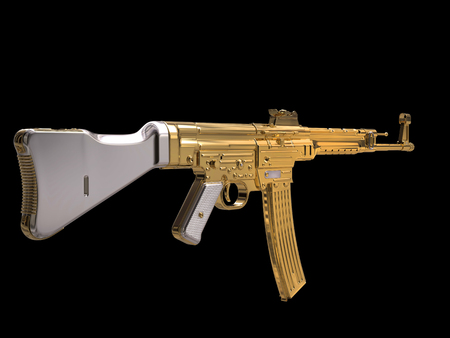 Golden assault rifle - vintage - rear view Archivio Fotografico