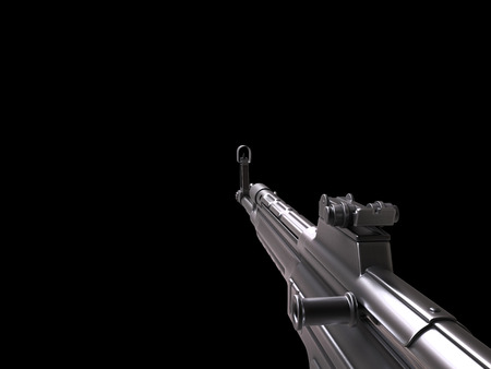 Vintage machine gun - first person point of view - right arm