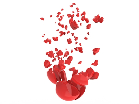 Broken red sphere into many pieces Banco de Imagens - 119214793