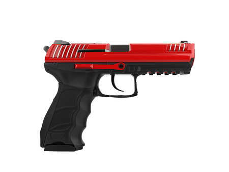 Modern semi automatic piston - red top details Stock Photo