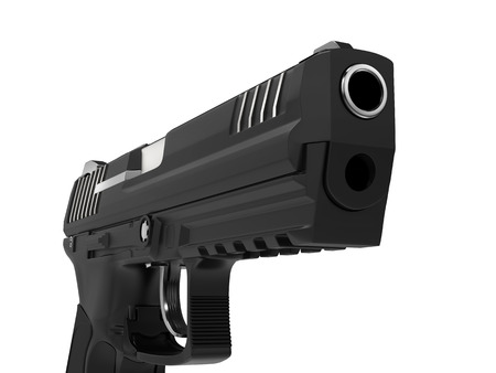 Modern black semi automatic side arm - pistol - closeup shot Stock Photo