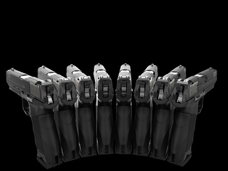 Semi automatic pistols pointing at all directions - rear view Stockfoto