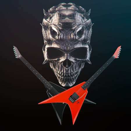 Heavy Metal - Demon skull, black and red crossed guitars