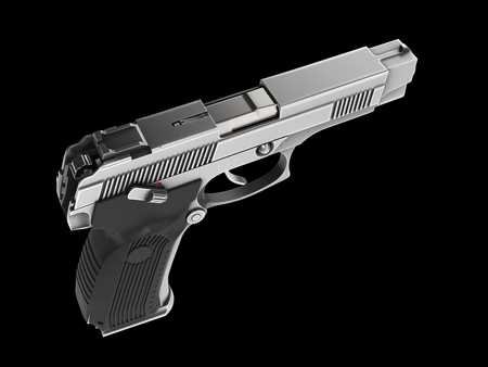 Tactical modern semi - automatic pistol - steel finish - top down view