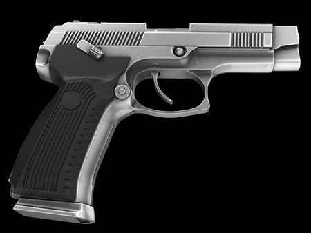 Modern metallic tactical pistol - low angle shot