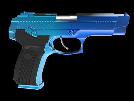 Tactical modern semi - automatic pistol - blue chrome finish Reklamní fotografie