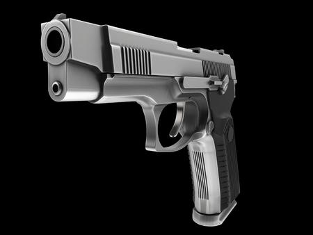Tactical modern semi - automatic pistol - steel finish - closeup shot
