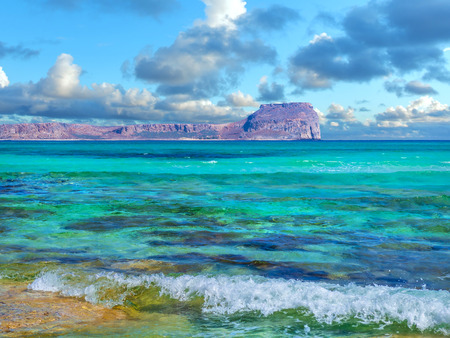 Amazing view of the Gramvousa Island from the Balos beach - Tropic paradise, crystal clear turqouise water Reklamní fotografie