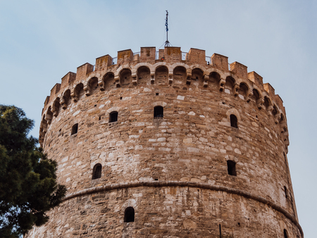 White Tower of Thessaloniki - medieval prison tower, now a museum - Thessaloniki, Greece