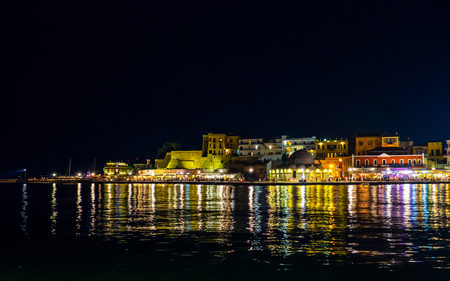 Old part of Chania port - Old town by the sea - Night scene - Crete, Greece Reklamní fotografie