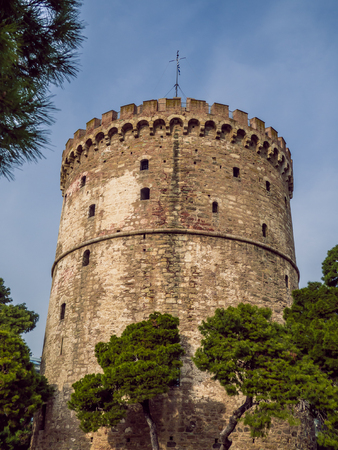 White Tower of Thessaloniki - infamous medieval prison tower, now a museum - wide angle shot